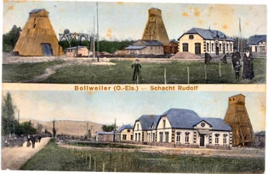 carte postale fonçage des puits Alex et Rodolphe 1