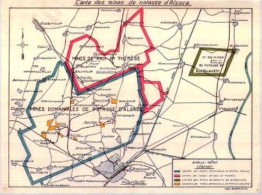 Les concessions formant le Bassin potassique alsacien en 1930.